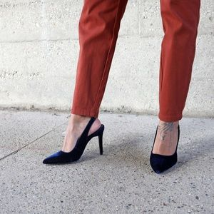 Blue Velvet Slingbacks